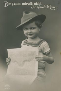 Postcard of a German Boy, Reading Newspaper, 1913 by German photographer
