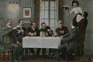 Postcard of Germans Drinking Beer and Having Fun with the Waitress, Sent in 1913 by German photographer