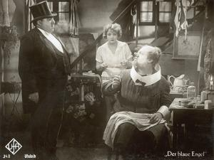 """Still from the Film """"The Blue Angel"""" with Marlene Dietrich, Kurt Gerron and Emil Jannings, 1930 by German photographer"""