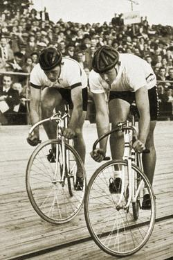 Toni Merkens and Albert Sellinger Starting the 1000 Metre Bike Race at the Berlin Olympic Games,? by German photographer
