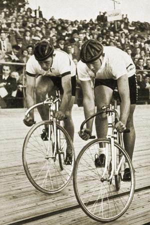 Toni Merkens and Albert Sellinger Starting the 1000 Metre Bike Race at the Berlin Olympic Games,… by German photographer