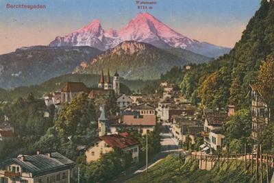 Watzmann Mountain in Berchtesgaden, Germany. Postcard Sent in 1913 by German photographer
