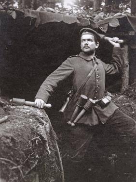 WWI German Grenadier Armed with Stick Grenades, 1915 by German photographer