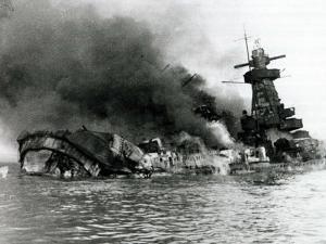 German Pocket Battleship Graf Spee Sinking Following Battle of River Plate in Uruguay, WW2, 1940