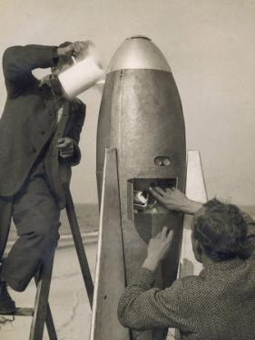 German Rocket Experiments on a Windswept Spit of Land, Filling the Device with Its Chemical Fuel