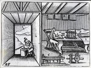 Bookbinding, Illustration from the 'Orbis Sensualium Pictus' by John Amos Comenius, English… by German School