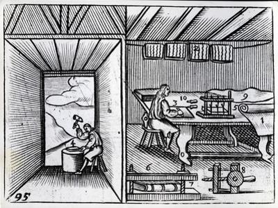 Bookbinding, Illustration from the 'Orbis Sensualium Pictus' by John Amos Comenius, English…