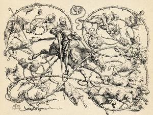 Don Quixote Fighting the Herd of Sheep, Mistaking Them for Two Armies, 1839, from 'The Garden… by German School