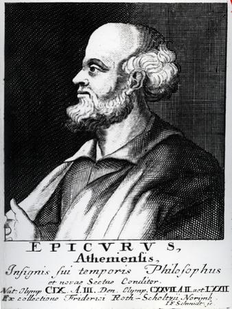 Epicurus, Engraved by Johann Fredrich Schmidt by German School