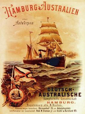 Hamburg - Australia', Poster Advertising the German Australian Steamship Company, 1889 by German School