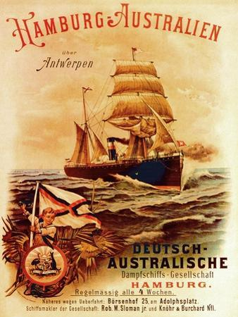 Hamburg - Australia', Poster Advertising the German Australian Steamship Company, 1889