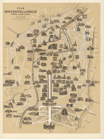 Map of Berlin, Published by Carl Glueck Verlag, Berlin, 1860