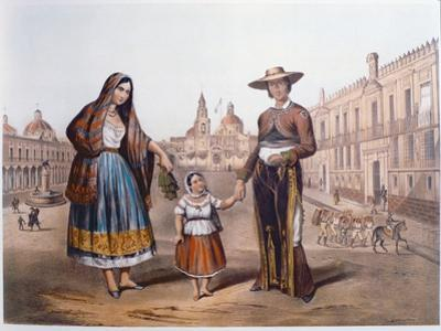 Mexican Family in Plaza Santo Domingo, Mexico City, C.1840 by German School