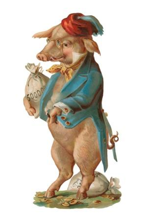 Pig with Stash of Money