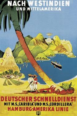 Poster Advertising 'Hamburg-Amerika Linie' Routes to the West Indies and Central America by German School