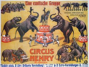Poster Advertising the 'Circus Henry', 1908 by German School