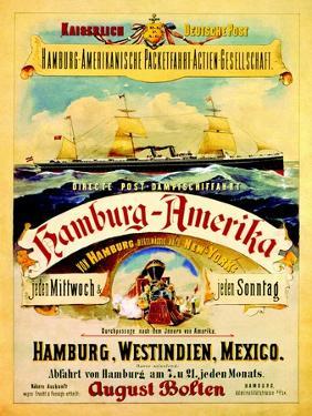 Poster Advertising the Hamburg American Line, 1883 by German School