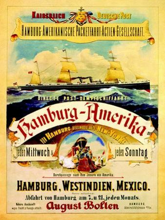 Poster Advertising the Hamburg American Line, 1883