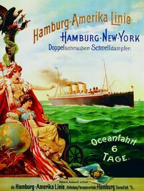 Poster Advertising the Hamburg American Line, 1897 by German School