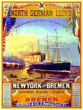 Poster Advertising the North German Lloyd Line, 1883 by German School