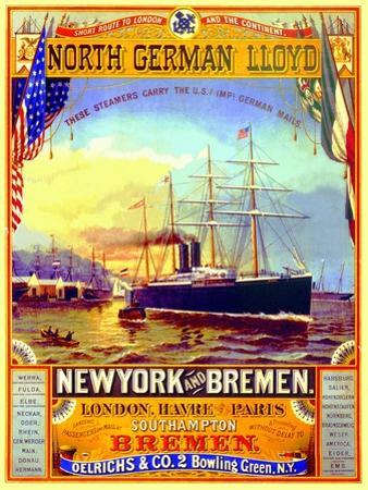 Poster Advertising the North German Lloyd Line, 1883