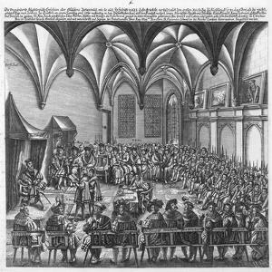 Reading of the Augsburg Confession on 25 June 1530 in the Augsburger Reichstag, C.1530 by German School