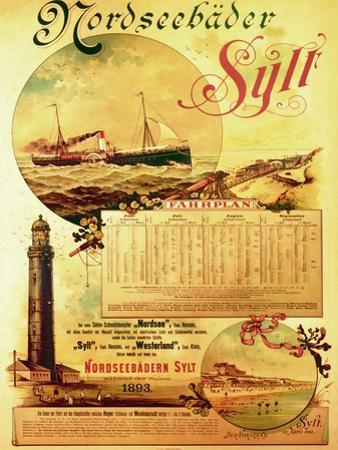 Sylt North Sea Baths', Poster Advertising the Sylt Steamship Company, 1893 by German School