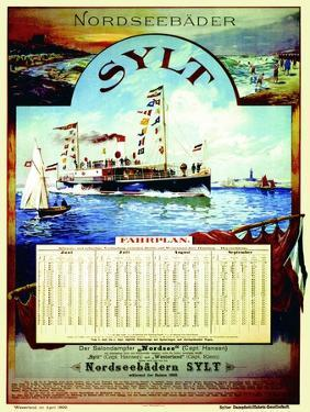Sylt', Poster Advertising the Sylt Steamship Company, 1899 by German School
