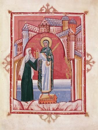 The Abbess Hilda Offering the Gospel to St. Walburga