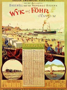Wyk Auf Fohr', Poster Advertising the Wyk Steam Shipping Company, 1897 by German School