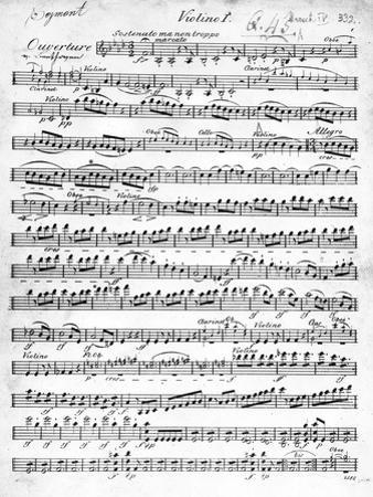 Sheet Music for the Overture to 'Egmont' by Ludwig Van Beethoven, Written Between 1809-10 (Print) by German