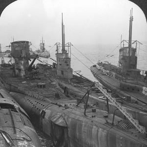 German Submarines Secured in a Channel Port, C1918-C1919