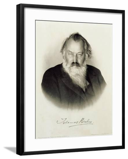 Germany, Engraved Portrait of German Composer, Pianist and Conductor Johannes Brahms--Framed Giclee Print