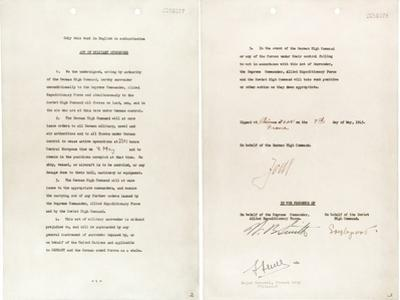 Germany Surrender Document Signed by Gen. Alfred Jodl, Chief of Staff of the German Army