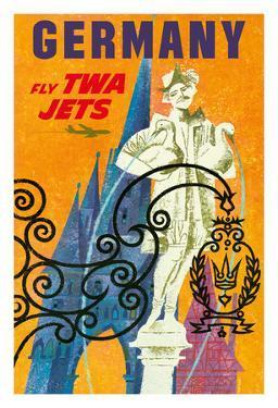 Germany - Trans World Airlines Fly TWA Jets - Gansemannchen Fountain of Nuremberg