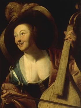 A Young Woman Playing the Viol by Gerrit Honthorst