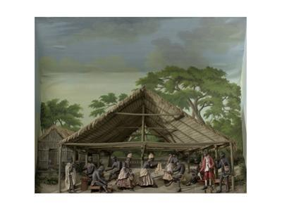 Diorama of a slave dance in Suriname, 1830 by Gerrit Schouten