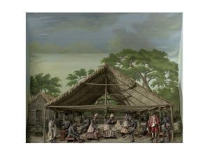 Diorama of a slave dance in Suriname, 1830 by Gerrit Schouten