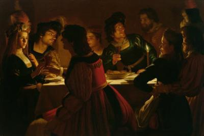 Feast Scene with a Young Married Couple, c.1617 by Gerrit van Honthorst