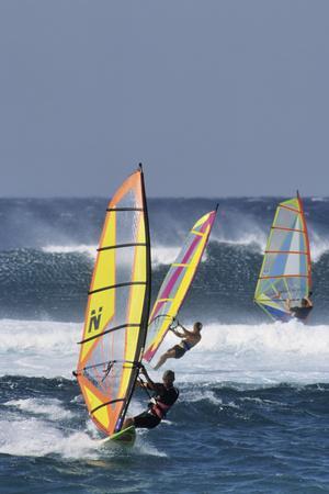 Windsurfing on the Ocean at Sunset, Maui, Hawaii, USA