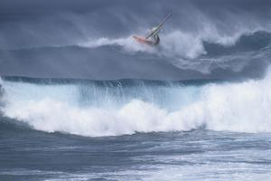 Windsurfing on the Ocean at Sunset, Maui, Hawaii, USA by Gerry Reynolds