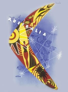 Australia - Boomerang - Kangaroo - Aboriginal Art - Australian National Travel Association by Gert Sellheim