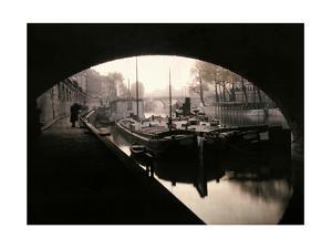 A View of Ile-De-La-Cite from under a Bridge by Gervais Courtellemont
