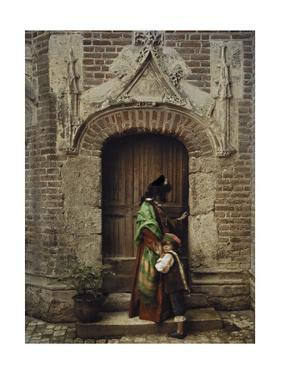 A Woman and Child Use the Yard Door to Exit the Castle by Gervais Courtellemont