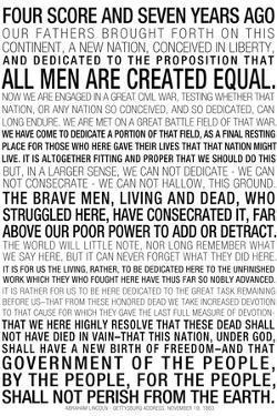 Gettysburg Address Text Plastic Sign