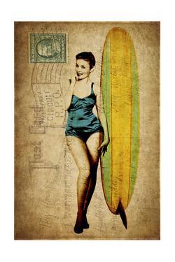 Pinup Girl Surfing by GI ArtLab