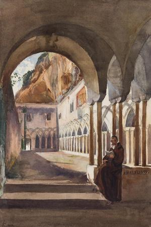 Cloisters at Amalfi, with Additions by Prince Luigi Maria Di Borbone (1838-1886), 1855