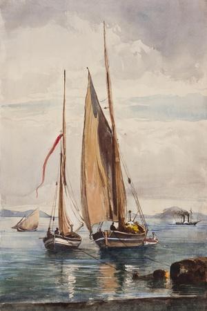 Fishing Boats and Steamship