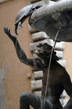 The Turtle Fountain. Detail. Turtle and Bronze Ephebe.16th Century. Rome. Italy by Giacomo della Porta