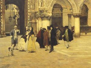 Strolling in the Square in Venice, 1884 by Giacomo Favretto